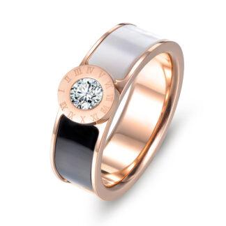 anillo blanco y negro acero inoxidable