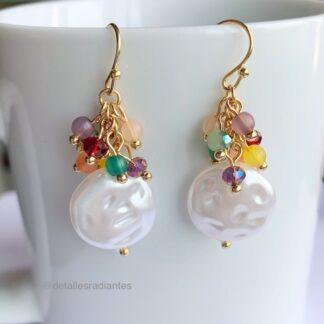 pendientes colgantes perla