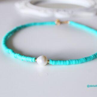 collar turquesa perla