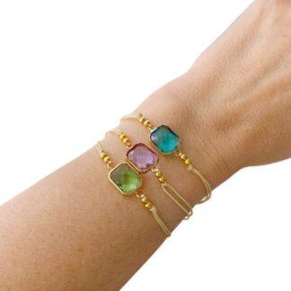 pulseras cuerda con piedra transparente colores