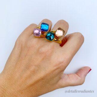 anillos piedras cristal de colores y dorado