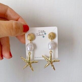 Pendientes estrella de mar dorada