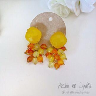 Pendientes invitada amarillo y naranja