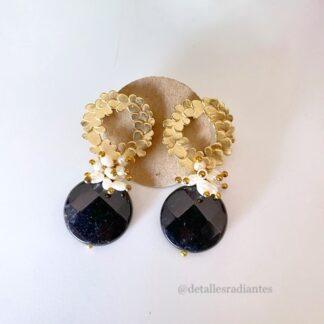 Pendientes joya negro dorado