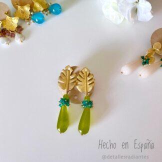 Pendientes invitada dorado verde