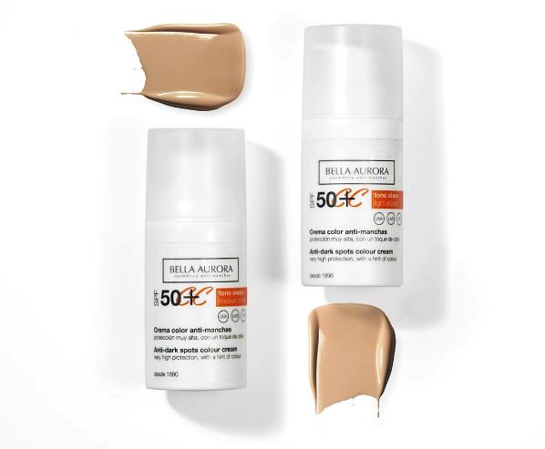 Crema de color anti-manchas con protección muy alta