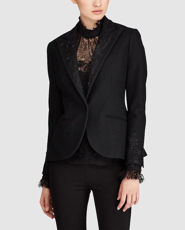 Chaqueta negra de mujer Polo Ralph Lauren con bordado