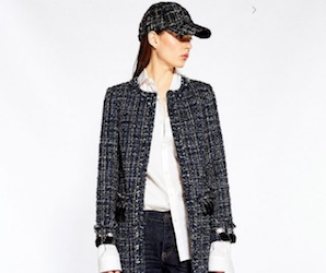 sfera chaqueta tweed larga