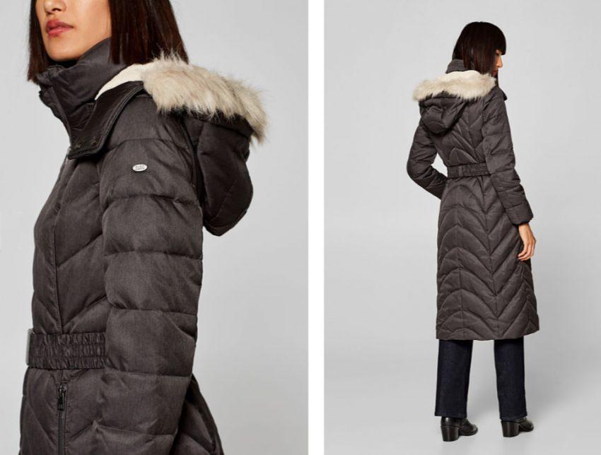 esprit abrigo capucha pelo