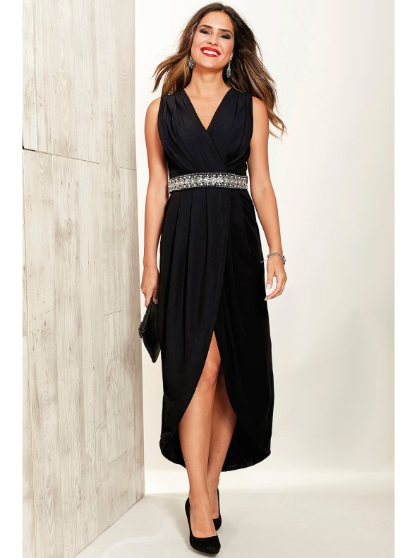 vestido de fiesta negro largo
