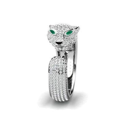 anillo leopardo plata