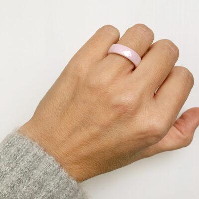 anillo rosa cerámica
